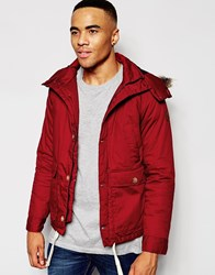 Native Youth Arctic Parka Jacket With Curved Hem Red