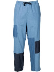Won Hundred Denim Patchwork Trousers Blue
