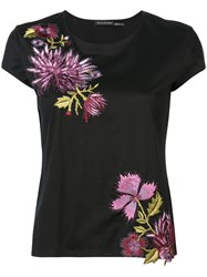 Josie Natori Embroidered T Shirt Black