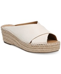 Franco Sarto Polina Espadrille Platform Wedge Sandals Created For Macy's Women's Shoes Milk Leather