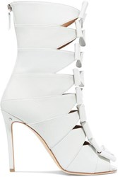 Laurence Dacade Silda Bow Detailed Cutout Creased Leather Ankle Boots White
