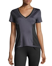 Xcvi Mesh Panel V Neck High Low Tee Charcoal