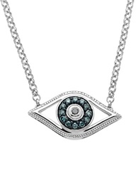 Lord And Taylor Sterling Silver Evil Eye Pendant Necklace With Green And Black Diamonds Blue Silver