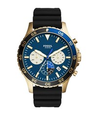 Fossil Blue Satin Dial Quartz Chronograph Black