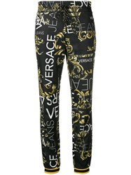 Versace Jeans Logo Print Slim Fit Track Pants Black
