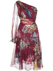 Marchesa Notte Floral Print One Shouldered Dress 60