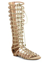 Joie Falacia Metallic Suede Lace Up Gladiator Sandals Gold