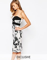 True Violet Midi Dress With Sweetheart Neck In All Over Floral Print Monocromefloral
