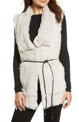 Love Token Longline Genuine Rabbit Fur Vest Smoke