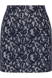 Carven Lace And Gingham Cotton Mini Skirt Blue