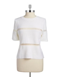 J.O.A. Laser Cut Accented Crop Top Ivory