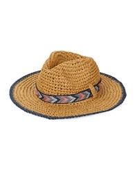 Echo Panama Crochet Hat Natural Navy Blue