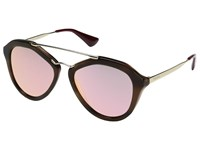 Prada 0Pr 12Qs Striped Brown Grey Mirror Yellow Rose