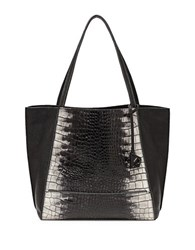 Botkier Soho Embossed Leather Tote Black White Croc