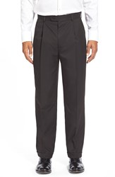 Linea Naturale Wrinkle Free Pleated Micro Twill Trousers Black