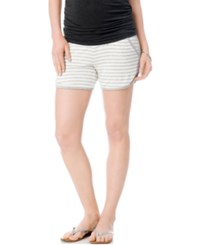 A Pea In The Pod Maternity Striped Drawstring Shorts White Heather Grey