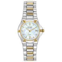 Citizen Ew1534 57D Women's Eco Drive Mother Of Pearl Two Tone Bracelet Strap Watch Silver Gold