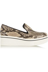 Stella Mccartney Binx Snake Print Canvas Platform Slip On Sneakers Nude
