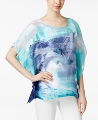 Styleandco. Style And Co. Printed Sheer Poncho Blouse Only At Macy's Tidal Pool Blue