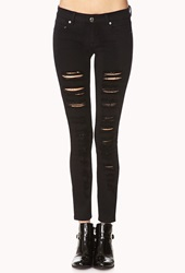 Forever 21 Favorite Destroyed Skinny Jeans Black
