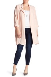 Bobeau Mid Length Woven Jacket Plus Size Pink