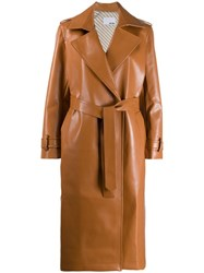Each X Other Vegan Leather Trench Coat Brown