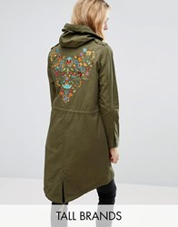 Brave Soul Tall Festival Parka With Embroidered Back Khaki Green
