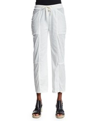 Skin Meryl Straight Leg Cropped Pants Crane White