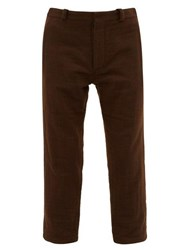 Ann Demeulemeester Cropped Cotton Blend Felt Trousers Brown