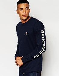 Abercrombie And Fitch T Shirt With Long Sleeves In Slim Muscle Fit In Navy Navy