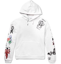 Flagstuff Tattoo Printed Loopback Cotton Jersey Hoodie White