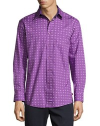 English Laundry Medallion Print Sport Shirt Purple
