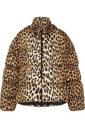 Balenciaga C Shape Hooded Leopard Print Quilted Shell Jacket Leopard Print
