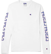 Beams Champion Printed Cotton Jersey T Shirt White