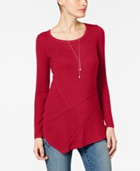 Inc International Concepts Ribbed Asymmetrical Tunic Only At Macy's Real Red