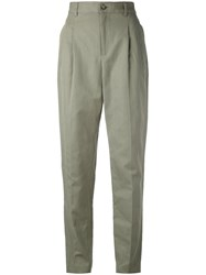A.P.C. Pleated Detail Tailored Trousers Women Cotton Linen Flax 40 Green
