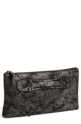 She Lo 'Next Chapter' Leather Clutch Black Metallic