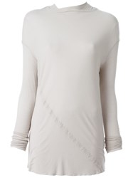 Rick Owens Long Sleeve Draped Top Nude And Neutrals