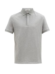 Valentino Rockstud Embellished Cotton Polo Shirt Grey