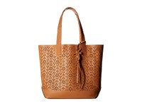 Frye Carson Floral Perf Tote Light Tan Oiled Veg Tote Handbags