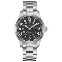 Hamilton H70535131 'S Khaki Field Automatic Day Date Bracelet Strap Watch Silver Black