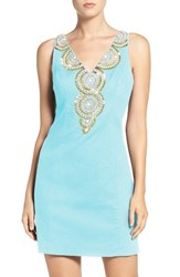 Lilly Pulitzerr Women's Pulitzer 'Gabby' Beaded Neck Cotton Shift Dress Serene Blue