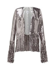 Galvan Stardust Fringed Sequinned Jacket Silver