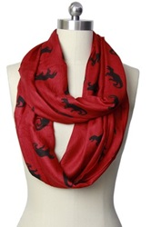 Saachi Dinosaur Red Loop Scarf