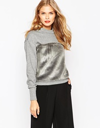 Oh My Love Sweatshirt With Faux Fur Panel Grey