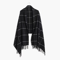 Madewell Cape Scarf In Windowpane Classic Black