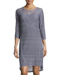 Xcvi Delaney Crochet 3 4 Sleeve Dress Aegean Sea