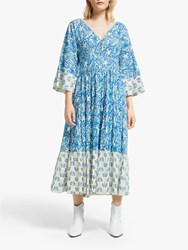 And Or La Galeria Elefante Kimono Paisley Print Midi Dress Blue Ivory