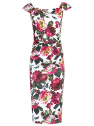 Jolie Moi Floral Ruched 40S Dress Multi