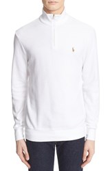 Men's Polo Ralph Lauren Quarter Zip Waffle Knit Pullover White